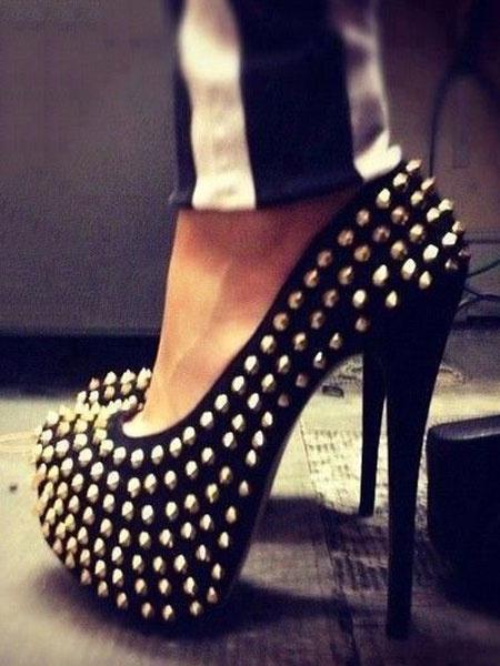 Milanoo Negro Sexy Zapatos 2020 Mujer con Plataforma  Almendra con Remaches de Tacon Altos
