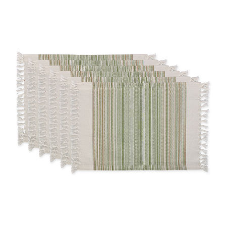 Design Imports Striped Fringed 6-pc. Placemat, One Size , Green