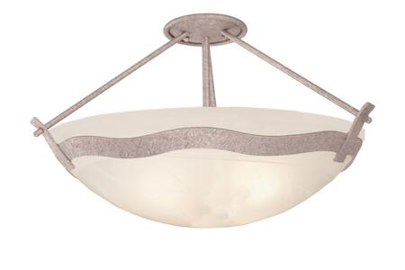 Aegean 5457FC/ALAB 3-Light Semi Flush Mount Ceiling Light in French Cream with White Alabaster Standard Bowl Glass