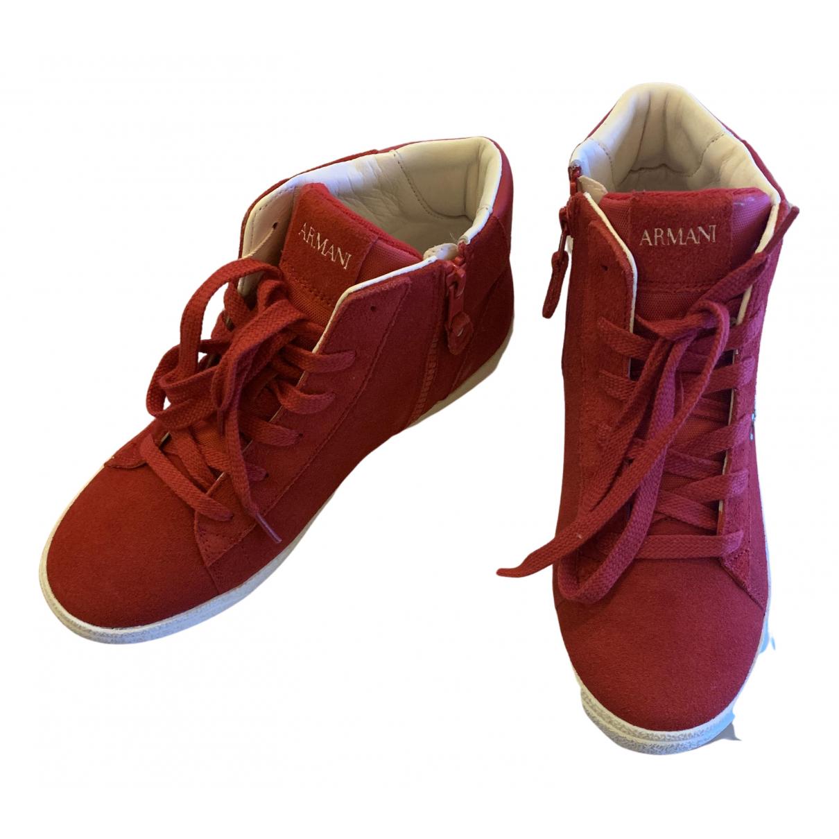 Armani Collezioni \N Sneakers in  Rot Veloursleder