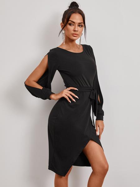 YOINS Black Side Slit Lace-up Belted Cold Shoulder Long Sleeves Midi Dress