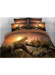Two Leopards Lying on Their Stomach on The Tree Trunk Warm 3D Printed 5-Piece Comforter Sets