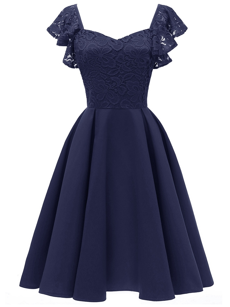 Ericdress Lace Cap Sleeves Knee-Length Women's Party Dress