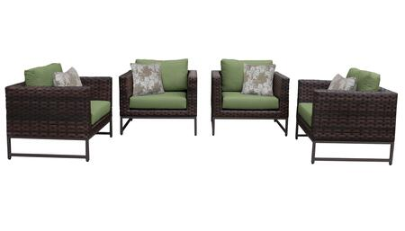 Barcelona BARCELONA-04g-BRN-CILANTRO 4-Piece  Patio Set 04g with 4 Club Chairs - Beige and Cilantro Covers with Brown