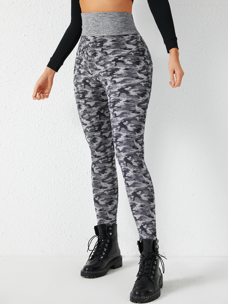 YOINS Grey Camo High-Waisted Pants