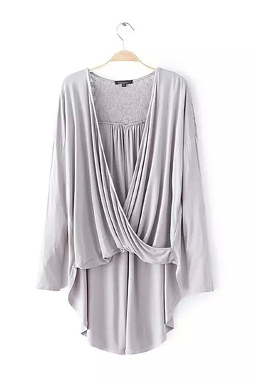 Yoins Wrap Front High Low Hem Lace Insert Top in Grey