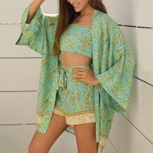 Cami Top mit botanischem Muster & Shorts mit Band vorn Set & Kimono