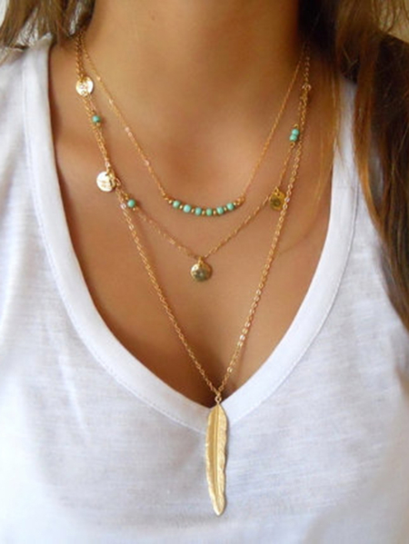 Yoins Gold Metal Multi Chain Necklace
