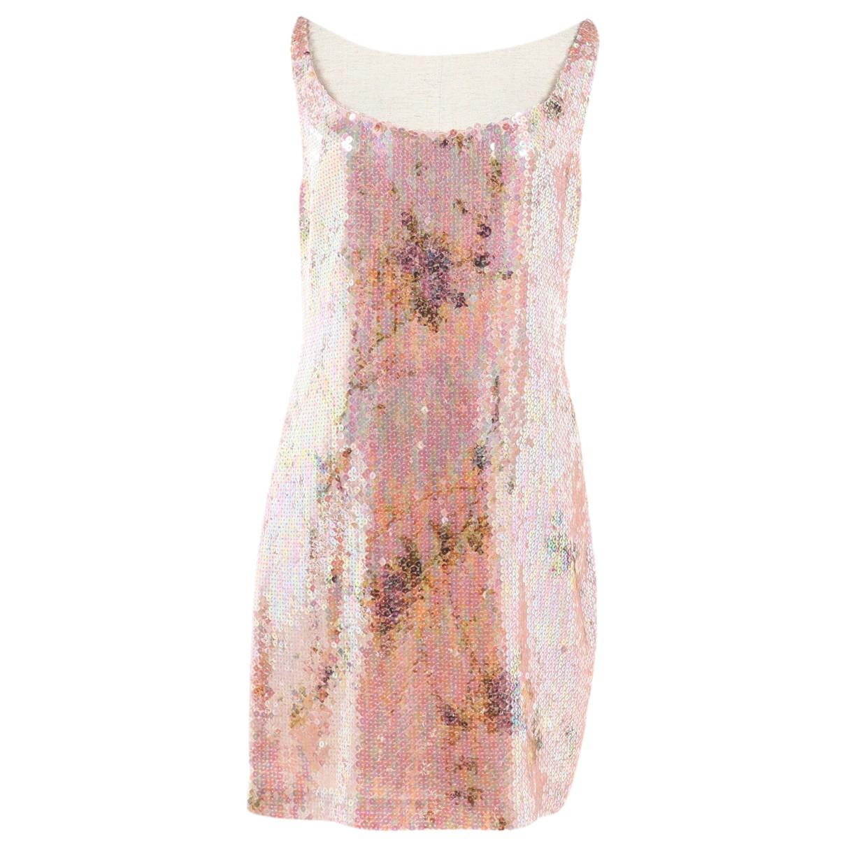 Non Signe / Unsigned \N Kleid in  Rosa Mit Pailletten