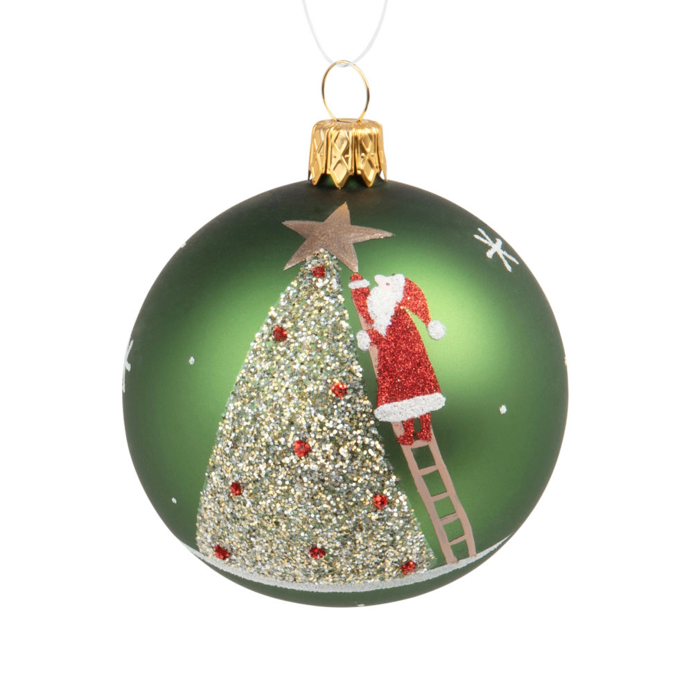 Weihnachtskugel aus gruenem Glas, bedruckt mit Tannenbaum und Weihnachtsmann