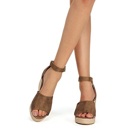 Yoins Brown Fashion Suede Peep Toe Sandals