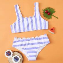 Bikini Badeanzug mit Streifen und Bogenkante