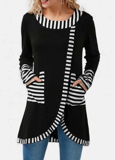 Women'S Black Stripe Print Tulip Hem With Pockets Round Neck Longline Long Sleeve Tunic Casual Top By Rosewe - L