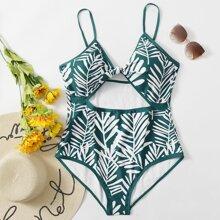Plus Leaf Print Cut-out Knot One Piece Swimsuit
