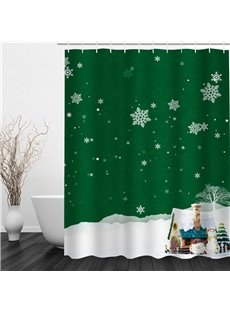 3D Snowflakes and Cabin Pattern Polyester Waterproof and Eco-friendly Shower Curtain