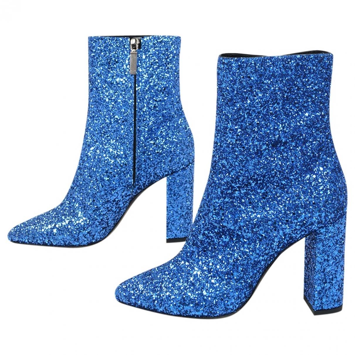 Yves Saint Laurent - Boots   pour femme en cuir - bleu