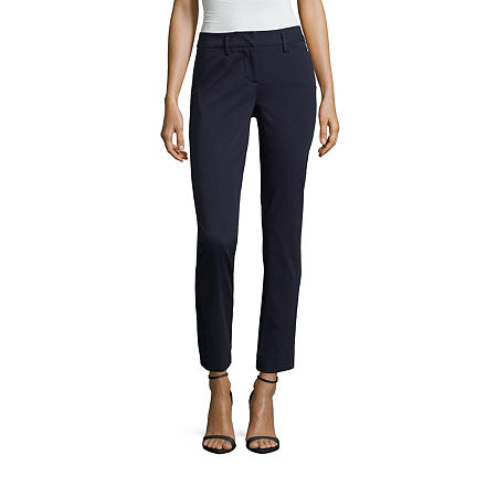 Worthington Womens Regular Fit Ankle Pant, 12 Petite , Blue