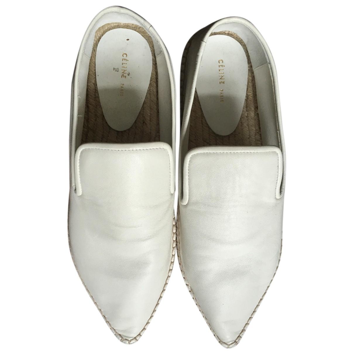 Celine N White Leather Espadrilles for Women 38 EU