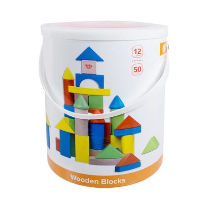 Tooky Toy® 50 Piece Wooden Building Blocks Set