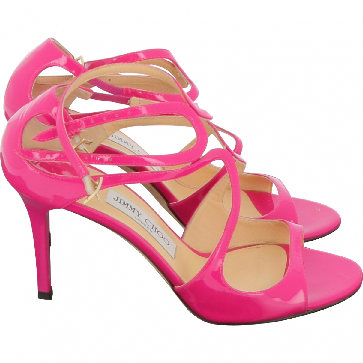 Jimmy Choo \N Pink Patent leather Sandals for Women 38.5 EU