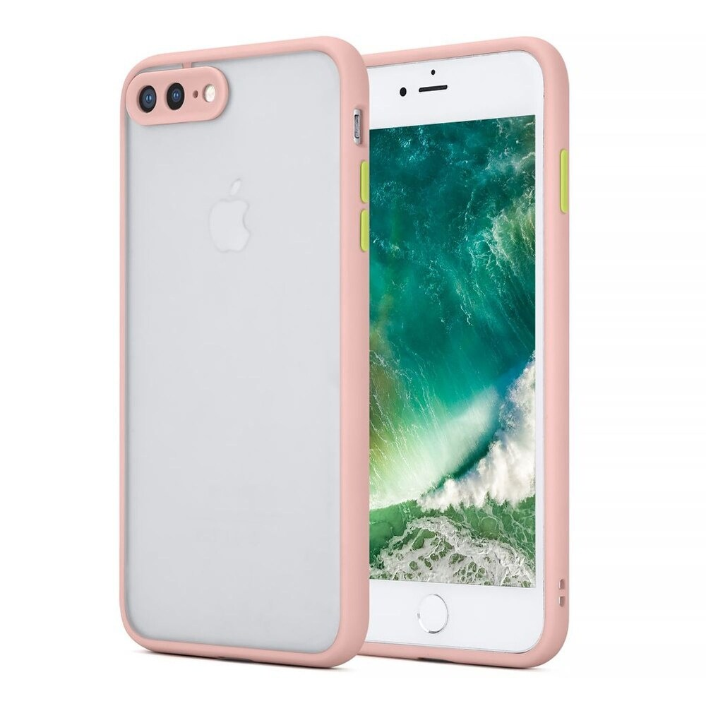 For Apple iPhone 7 Plus/8 Plus Pink Frosted Camera Protector Case Acrylic Case (Pink)