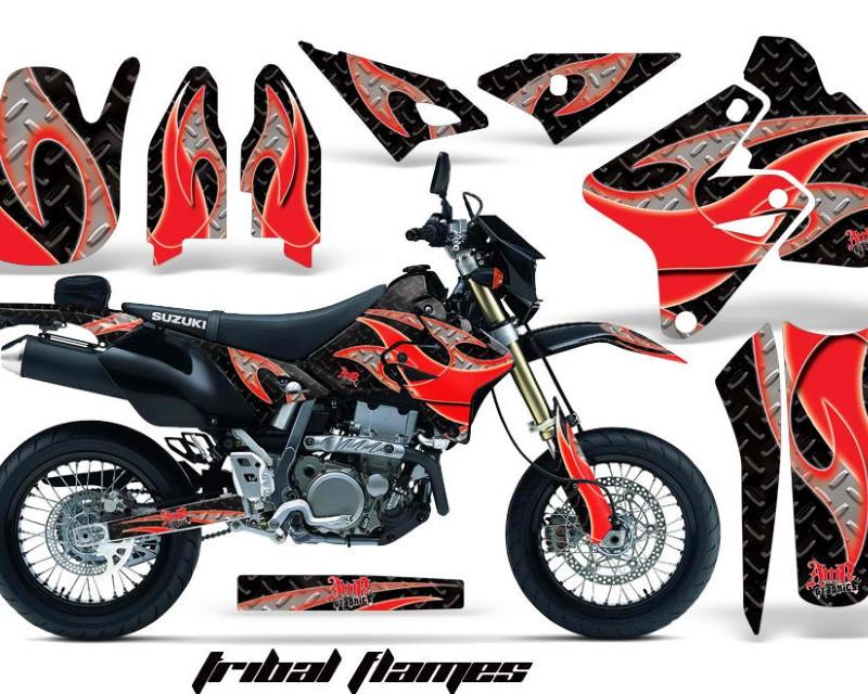 AMR Racing Dirt Bike Graphics Kit Decal Sticker Wrap For Suzuki DRZ400SM 2000-2018áTRIBAL RED BLACK