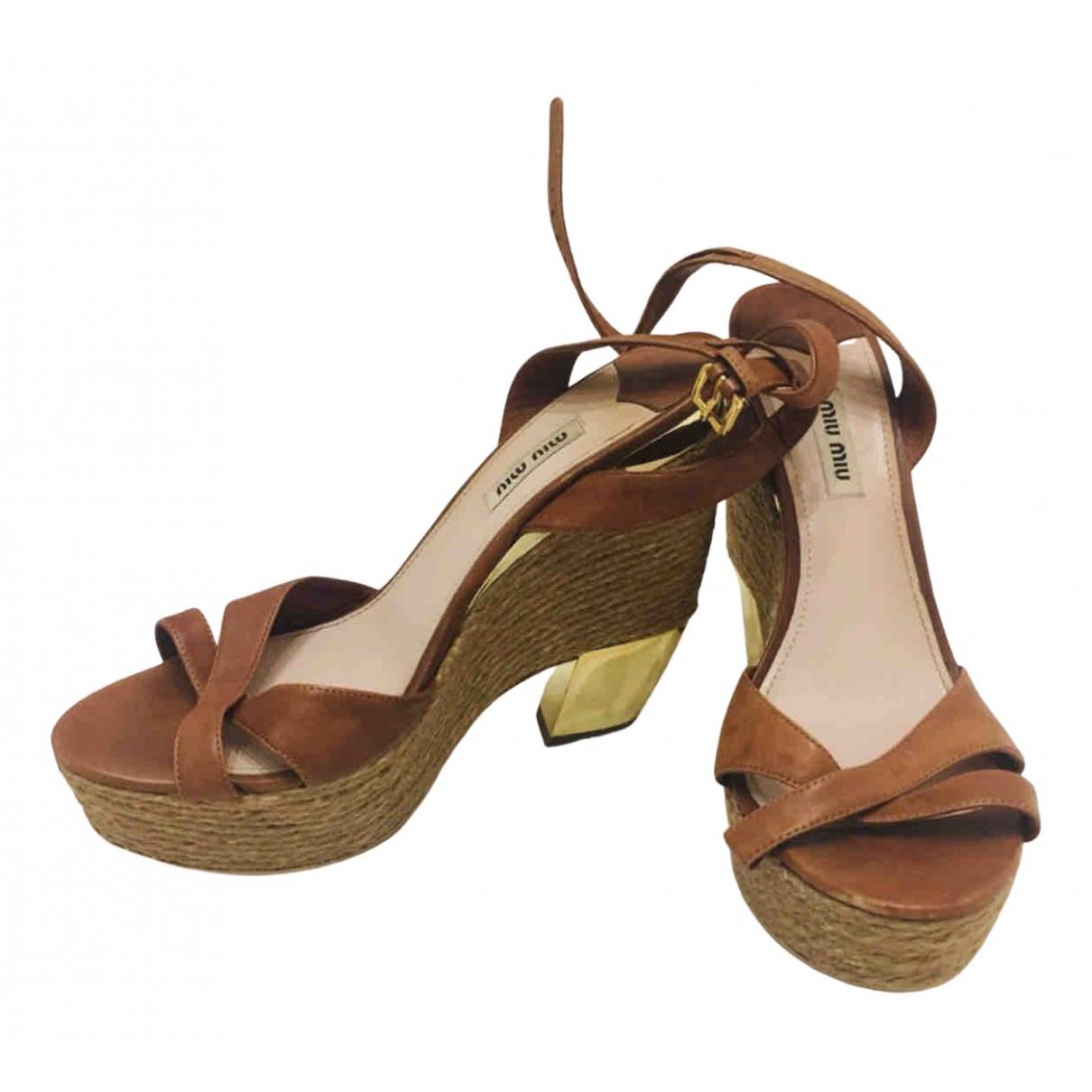 Miu Miu N Brown Leather Sandals for Women 39 EU