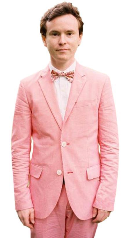 Mens 2 Button Slim Fit 2 Piece Hot Pink Linen Wedding Tuxedo Suit