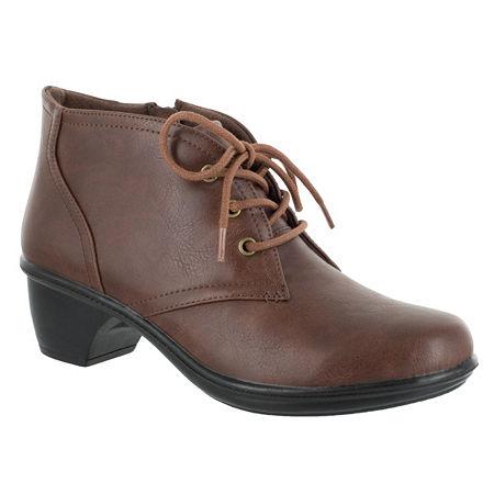 Easy Street Womens Debbie Block Heel Zip Bootie, 5 1/2 Medium, Brown