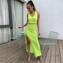 vestido con encaje de muslo con abertura ribete con fruncido con malla de lima neon