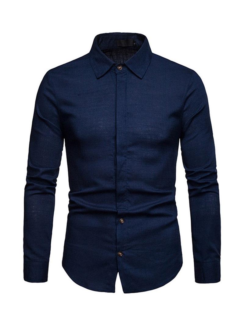 Ericdress Plain Lapel Single-Breasted Mens Linen Shirt