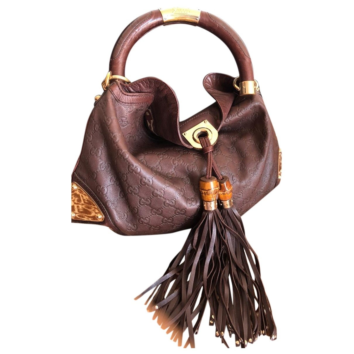 Gucci Indy Brown Leather handbag for Women \N