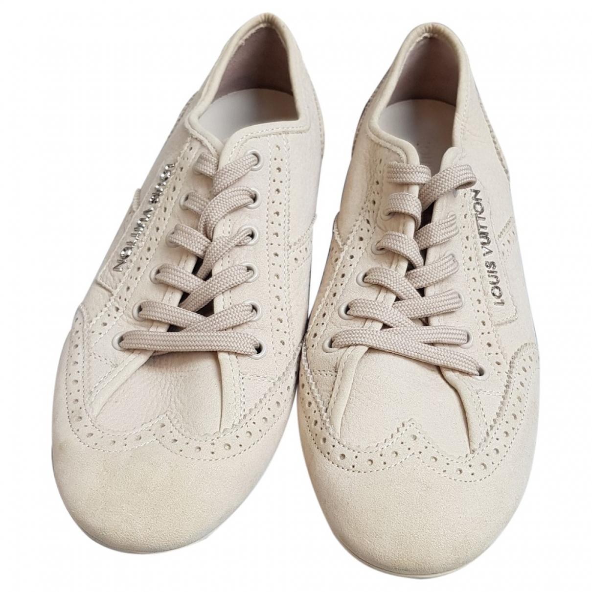 Louis Vuitton \N Sneakers in  Ecru Veloursleder