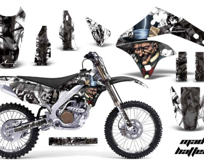 AMR Racing Graphics MX-NP-KAW-KX250F-06-08-HAT K W Kit Decal Sticker Wrap + # Plates For Kawasaki KX250F 2006-2008áHATTER BLACK WHITE