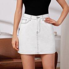 Contrast Stitch Detail Denim Skirt