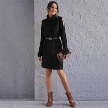 Funnel Neck Cut Out Sleeve Sweater Dress Without Belt