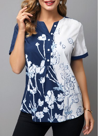 Women'S Navy Blue Floral Printed Short Sleeve Casual Blouse Buttin Detail Split Neck Tunic Top By Rosewe - XL