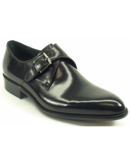 Men's Black Calfskin Leather With Monk Strap Fashion Shoes