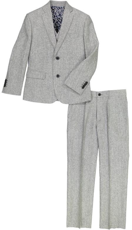 Mens Single Breasted Flap Lapel Gray Linen Suit And Pant