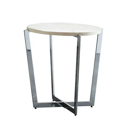 BM205368 End Table with Round Wooden Top and Crossed Legs  Beige and