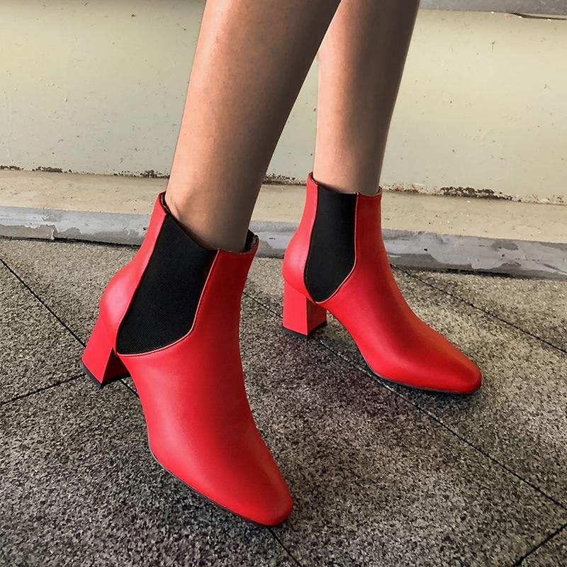 Ericdress Chunky Heel Slip-On Square Toe Short Floss Boots