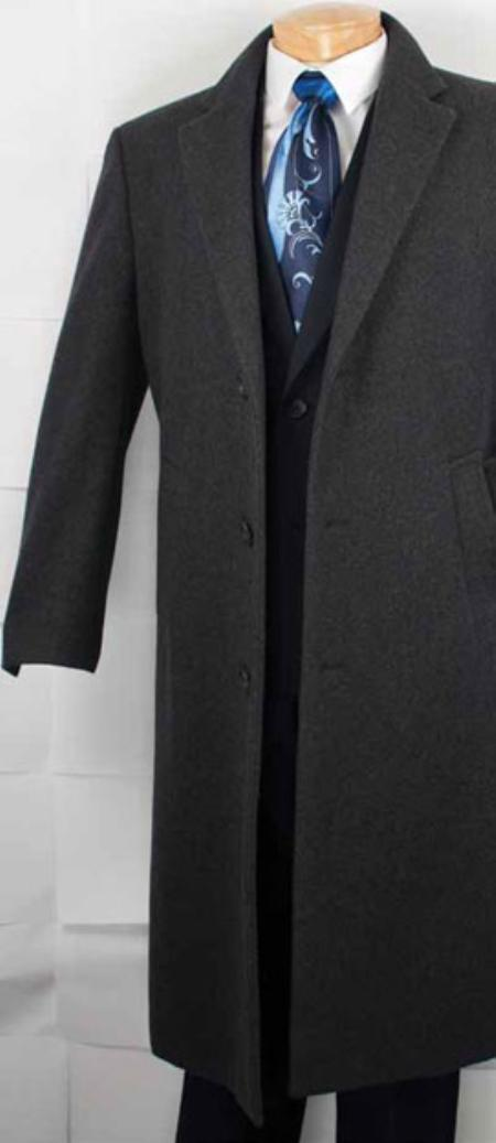 Mens Cashmere Blended Top Coat Charcoal Grey