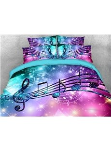 Fancy Notes Music Themed 3D Duvet Cover Sets 4-Piece Soft Breathable Bedding Sets