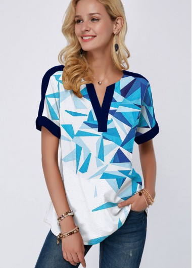 Short Sleeve Geometric Print Split Neck Blouse - 10