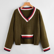 Striped Cable Knit Asymmetrical Hem Sweater