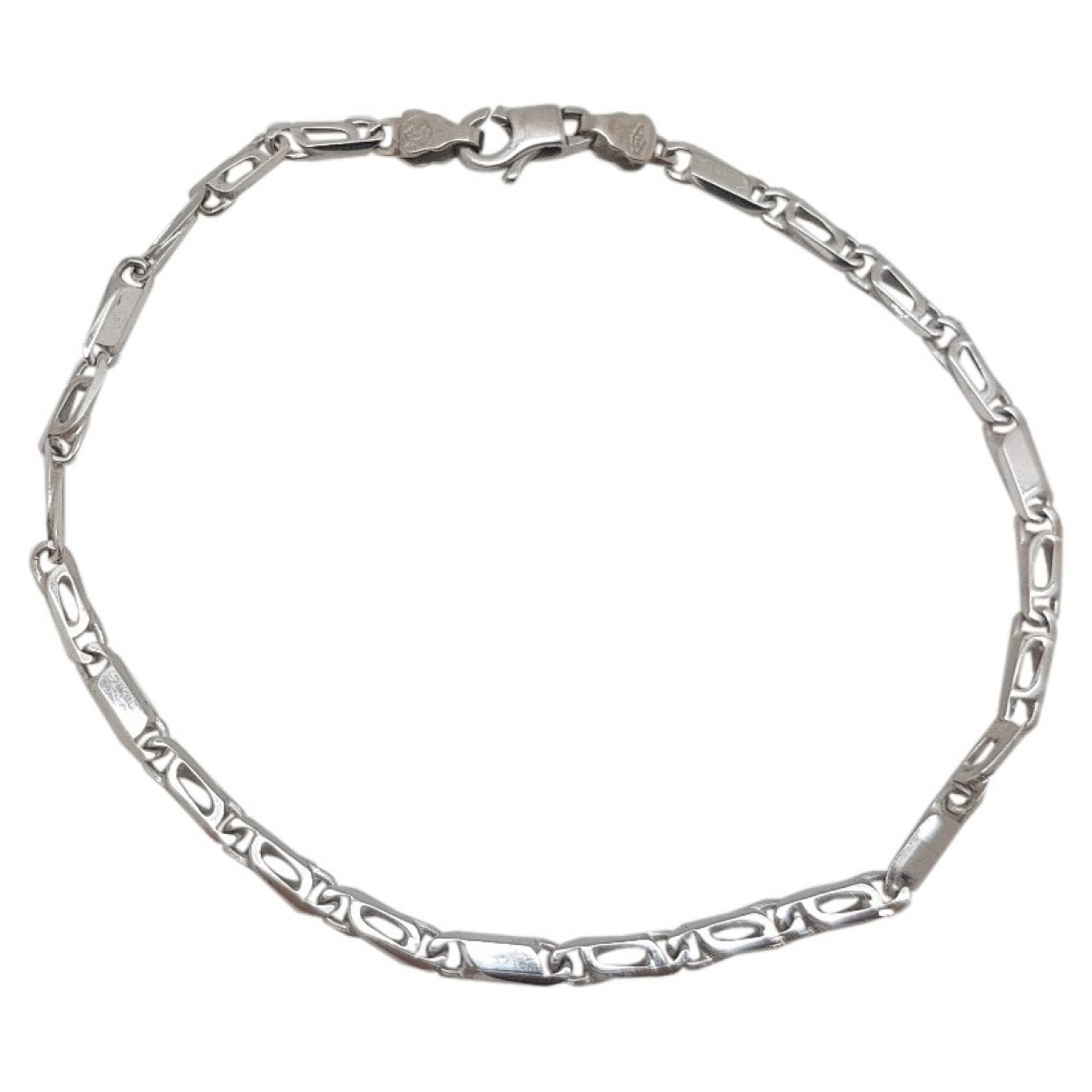 Non Signe / Unsigned Gourmette Armband in  Weiss Weissgold