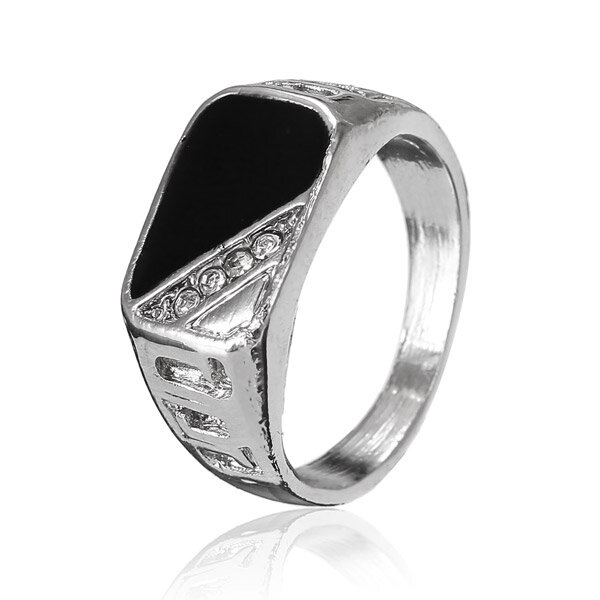 Enamel Alloy Hollow Crystal Ring