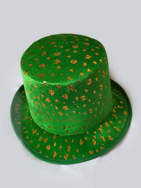 Milanoo Disfraz Halloween Traje de fiesta irlandes Sombrero Dorado Velour Dia de San Patricio Accesorio de vestuario Halloween