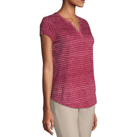 Liz Claiborne-Womens Split Crew Neck Short Sleeve T-Shirt, X-small , Red