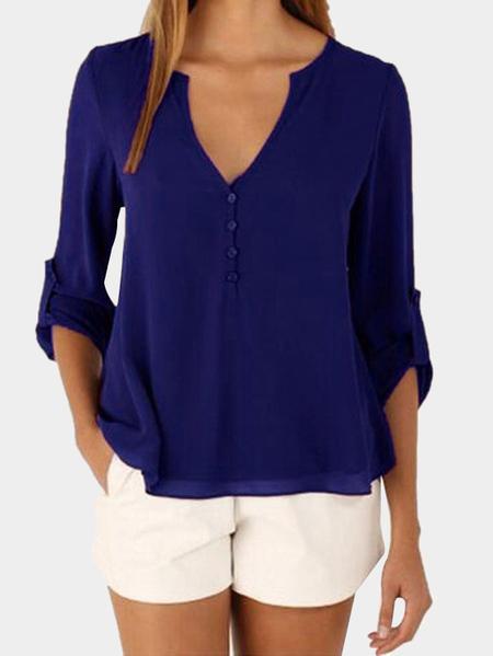 Yoins Dark Blue V-neck Long Sleeves Irregular Hem Top